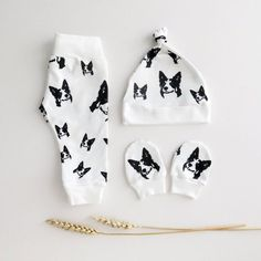 Newborn Set For Border Collie Owner Baby Girl Boy, Organic Cotton Newborn Hat Mittens And Leggings, Unisex Newborn Outfit, Photo Prop Baby Baby Hat And Mittens, Baby Hats, Border Collie, Newborn Clothes Unisex, Babies Clothes, Baby Hospital Outfit, Newborn Beanie, Baby Leggings, Coton Bio