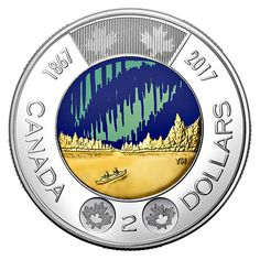 Canada's newest two dollar coin, or toonie, depicts the Aurora Borealis or Northern Lights. It is the world's first circulation coin that glows in the dark! Just in time for Canada's birthday on July Rare Coins Worth Money, Canadian Coins, Two Dollars, Coin Worth, Canada 150, Gold Money, Collector Cards, Commemorative Coins, Dollar Coin