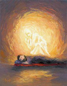 The Angel Visits Joseph by Mike Moyers Catholic Art, Religious Art, Religious Images, Prophetic Art, Biblical Art, Jesus Art, Jesus Pictures, St Joseph, Bible Art