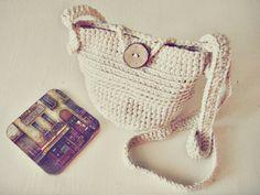 100% Cotton Crochet Crossbody Bag - Rustic Purse  - Ivory Color Summer Bag -  Boho Style - Eco Friendly