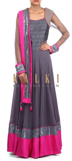 Buy Online from the link below. We ship worldwide (Free Shipping over US$100). Product SKU - 305679.Product Link - http://www.kalkifashion.com/grey-anarkali-suit-adorn-in-zari-embroidery-only-on-kalki.html