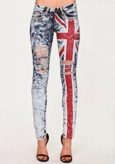 British flag skinny jeans