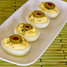 Deviled Eggs with Green Olives, Capers, and Dijon; I'd love these as a #LowCarb appetizer for New Year's Eve or for a Superbowl Party! [from KalynsKitchen.com]