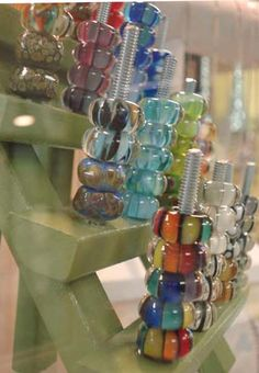 """display your beads at home - those waiting to be made into something :- ) (screw seems a bit """"raw"""" , any suggestions for another stick ?)"""