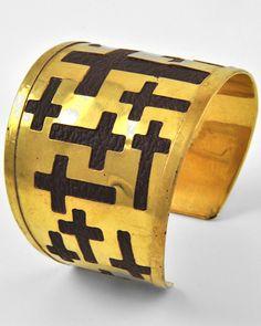 Gold Tone Metal / Brown Leatherette / Lead Compliant / Cross / Cuff Bracelet