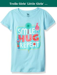 Trolls Girls' Little Girls' Movie Smile Hug Repeat Short Sleeve T-Shirt, Cancun, Large/6X. Trolls movie smile hug repeat short sleeve t-shirt - features glitter/crystalline on print.
