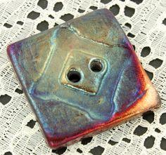 Large Raku button by elementspottery on Etsy, $7.50