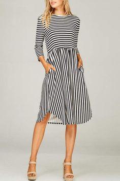 Lime n Chili Striped 3/4-Sleeve Dress
