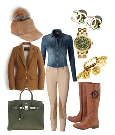 """""""Urban Riding Gear"""" by lookfabuless on Polyvore featuring Lola, LE3NO, J.Crew, Hermès, Chanel and Tory Burch"""