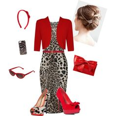 """Leopard & Red"" by estes9011 on Polyvore. OMG SO ME!!!"
