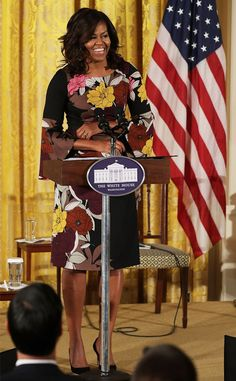 Michelle Obama from The Big Picture: Today's Hot Pics  FLOTUS in floral! The First Lady delivers opening remarks during an event in Washington D.C.