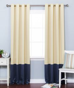 Beige & Navy Color Block Blackout Curtain Panel - Set of Two #zulily #zulilyfinds