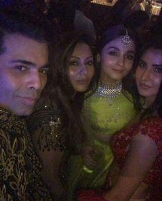 Alia bhatt, Katrina Kaif , gauri khan and Karan johar Sonam Kapoor Wedding, Karan Johar, Katrina Kaif, Alia Bhatt, Celebs, Celebrities, Bollywood, Poses, Beautiful Actresses