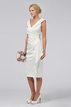 Sheath/Column V-neck Tea-length Mother of the Bride Dress With Ruching Crystal Detailing
