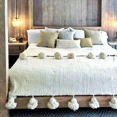 Wool Moroccan Pompom Blanket,bedroom blanket,moroccan throw blanket,pompom blanket – cozy home warm Bed Spreads, Bedroom Decor, Bedroom Bed, Interior Design, Design Design, Design Ideas, House Design, Home Decor, Pom Poms