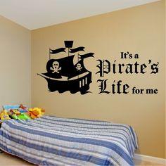 Pirate Wall Sticker Kids Pirates Ship Bedroom Stickers Vinyl Transport Sail Name