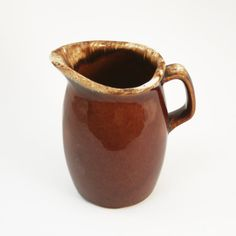 Hull Oven Proof creamer / syrup pitcher brown drip by Modernware, $9.00