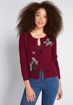 Ideal for casual or workwear looks, this burgundy cardigan adds a sweet, vintage inspiration to your wardrobe. An easy complement to denim or dresses, this soft knit layer from Royal Monk—formerly Banned—is finished with cat and flower embroid Plus Size Sweaters, Cardigan Sweaters For Women, Cardigans For Women, Burgundy Cardigan, Cotton Cardigan, Cute Casual Outfits, Pretty Outfits, Pretty Clothes, Cat Print Clothing