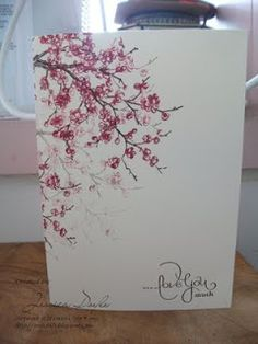 SU! Easter Blooms - love the fullness and depth added by stamping the cherry blossom branch a second time without reinking. Pretty one-layer card!