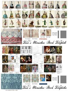 """My combined Free Mini Book Template with the 1"""", 1/2 size versions of the New mini costume books of 18th Century Banyans and 1770s French Fashions."""