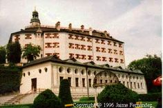Ambras Castle situated outside of  Innsbruck Austria. Documented in  the 11th century, refurbished 1529 to  1595
