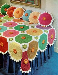 free vintage crochet pattern: 'Colorful Throw & Pillows' from 'current attractions' by star, book no. 214