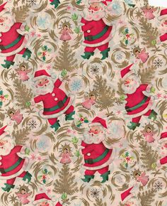 christmas vintage wrapping paper santa | jancureall | Flickr