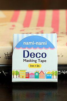 Japanese Kawaii Slim NamiNami Die-cut Masking Tape - Colorful Town