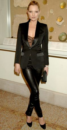 Kate Moss. When going somewhere nice, donning a suit-esque outfit in black mixing textures is unexpected and sexy without being over the top. #loveit