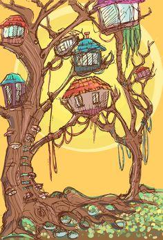 illustration , tree,homes,colorful,sun,summer
