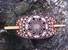 Mandala hand carved leather hair barrette  0 tooled leather