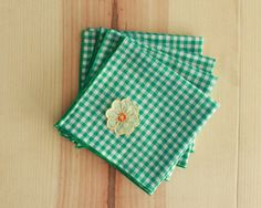 Green Gingham Napkins with Floral Detail  by HighDesertDryGoods