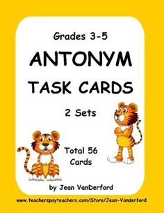 Antonym TASK CARDS   are full of antonyms used in third through fifth grades. The 56 ANTONYM TASK CARDS each have one word with four choices from which to choose an antonym. This is great practice for standardized tests.These antonym cards build vocabulary, knowledge of antonyms, and improve spelling and comprehension.