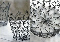 Funny how wireware inspires me to doodle. Lovely little wire basket from Cosas (so many cute European items on this site. Weaving Art, Wire Weaving, Basket Weaving, Wire Jewelry, Jewelry Art, Beaded Jewelry, Corona Real, Wire Board, Wire Crown