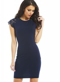 Look super sexy this season in this gorgeous navy lace shouldered bodycon. Simple and sophisticated, the lace shoulders would be ideal with that perfect hair up! Get those heads turning and make a statement with a wild statement necklace and daring heels. Approx back length from top of shoulder to hem: 85cm  SKU: DW1376NVY-S35
