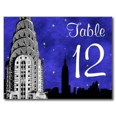 NYC Skyline Silhouette Chry Blu Strry Table Number Postcard