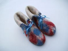 Red and Blue Wool Slippers Handmade Felt by BrightHappyFelt