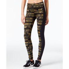 Nike Epic Lux Clash Dri-fit Leggings ($90) ❤ liked on Polyvore featuring pants, leggings, militia green, white trousers, nike leggings, green leggings, green pants and nike pants