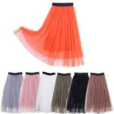 Amazon.com: HDE Halloween Neon Orange Sheer Below Knee Length Layered Tulle Skirt A-line S M L: Clothing