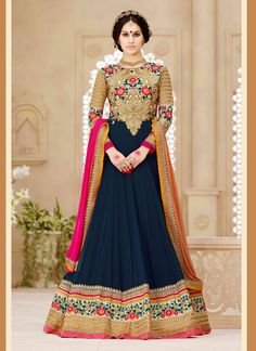 Blue Georgette Anarkali Suit  Email - support@ethnicoutfits.com Call - +918140714515 What's app/ Viber - +918141377746