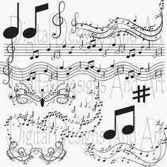 Music clipart, notes clip art, Digital Clipart Musical Accenq,Invitation Clipart…
