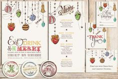 Printable Christmas Party Pack with Christmas Ornaments - Printable Christmas Invitation - Printable Christmas Menu - Eat Drink and be Merry. $25.00, via Etsy.