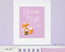 ON SALE Fox Art print, personalized wall art, DIGITAL or Printed, nursery print, custom art print, kids wall art by Prettygrafik - Wa102