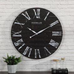 FirsTime & Co. 29 in. Midnight Shiplap Clock 31092 - The Home Depot Big Wall Clocks, Black Clocks, Rustic Wall Clocks, Wood Clocks, Farmhouse Wall Clocks, Rustic Farmhouse Decor, Country Decor, Farmhouse Style, White Shiplap