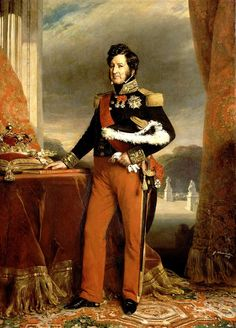 Louis Philippe I  1773 –1850 by  Franz Xaver Winterhalter  1839-King of France from 1830 to 1848 in the July Monarchy. His father supported the French Revolution but was nevertheless guillotined. Proclaimed king after years in exile in 1830 after King Charles X was forced to abdicate. He himself was forced to abdicate in 1848 and lived out his life in exile in England. He was the last Bourbon king of France.