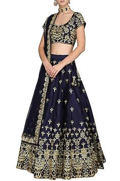 Esha Koul Featuring a dark blue lehenga skirt in silk base with gota and sequin embellishments. It is paired with matching blouse and dupatta in net base with floral motifs. Lehenga Skirt, Blue Lehenga, Sweet Wedding Dresses, Wedding Wear, Engagement Outfits, Pernia Pop Up Shop, Occasion Wear, Classy And Fabulous, Dark Blue