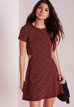 Up your day game in this seriously on point' skater dress . With striped textured fabric in a perfect warm rust hue you'll be lookin' tip top this season. The Layered top gives that extra jazz to the dress to ensure all eyes are on you. Sty...