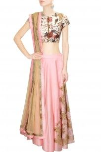 Off white and pink sequins embroidered crop to and skirt set