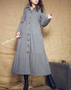 Wool Coat in Grey / Long Dress Coat Padded Coat by camelliatune, $139.00
