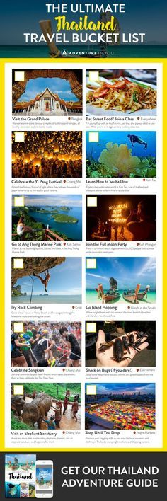 Thailand Bucket List Planning a trip to Thailand? Here's the ultimate Thailand bucket list to help you explore the best of what this country has to offer. Thailand Vacation, Thailand Travel Tips, Phuket Thailand, Thailand Backpacking List, Scuba Diving Thailand, Visit Thailand, Laos, Thailand Adventure, Adventure Travel